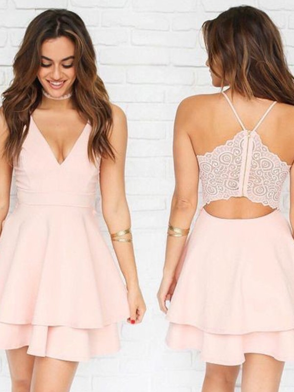 A-Line V-neck Short/Mini White Homecoming Dresses with Pleats