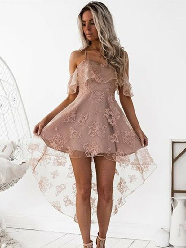 A-Line Satin Off-the-Shoulder Short/Mini Homecoming Dresses with Lace
