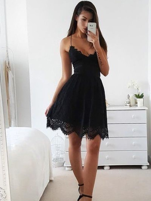 A-Line Spaghetti Straps Short/Mini Black Homecoming Dresses