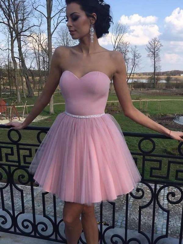 Sweetheart Short/Mini Pink Homecoming Dresses with Pleats