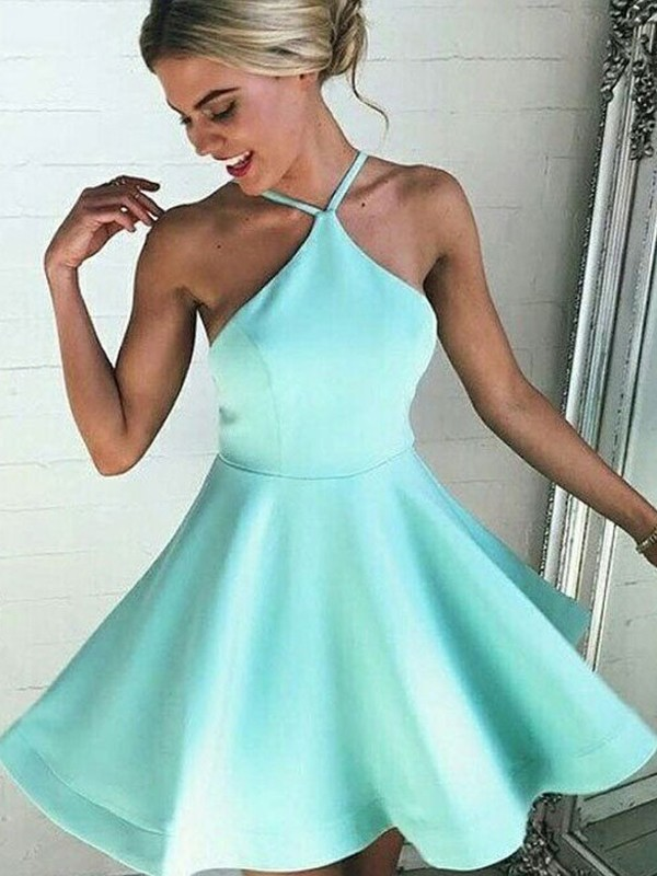 Halter Short/Mini Sage Homecoming Dresses with Ruched