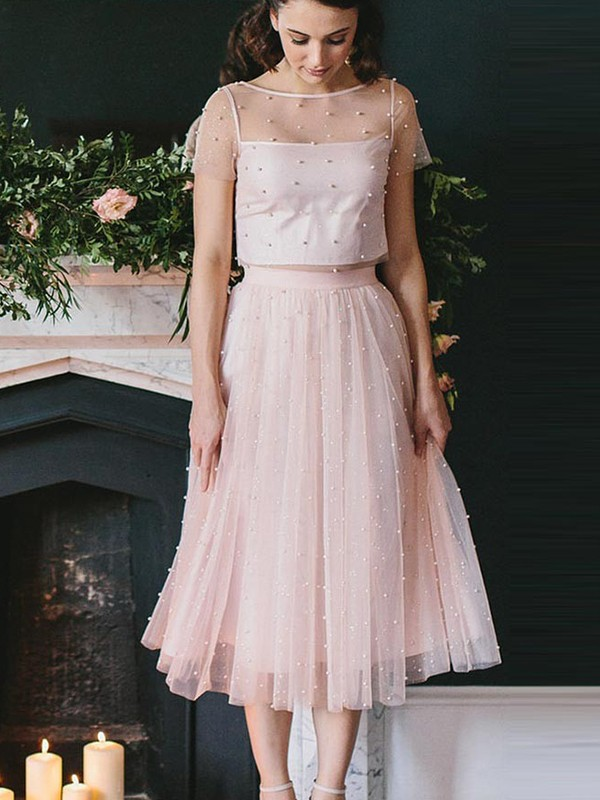 A-Line Scoop Tea-Length Pink Homecoming Dresses