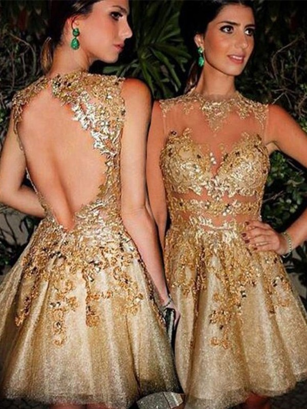 Tulle Bateau Short/Mini Gold Homecoming Dresses