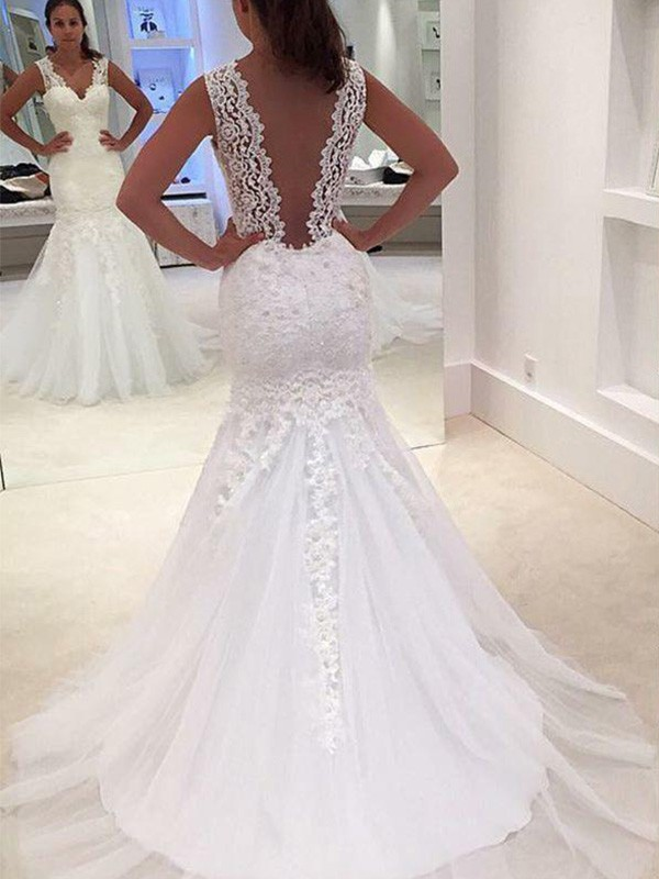 Mermaid V-neck Court Train White Wedding Dresses