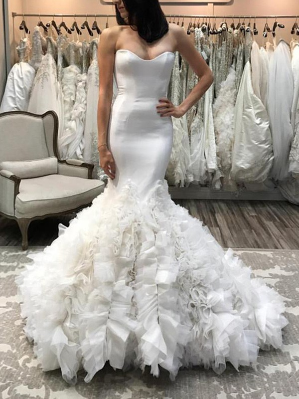 Mermaid Organza Sweetheart Court Train Ivory Wedding Dresses