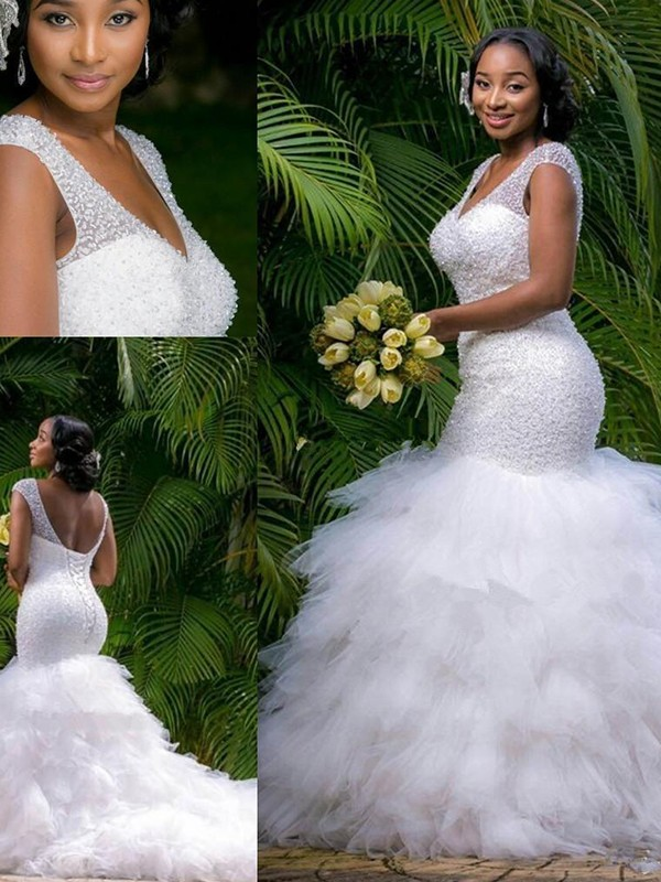 Trumpet/Mermaid V-neck Sleeveless Cathedral Train Beading Organza Wedding Dresses