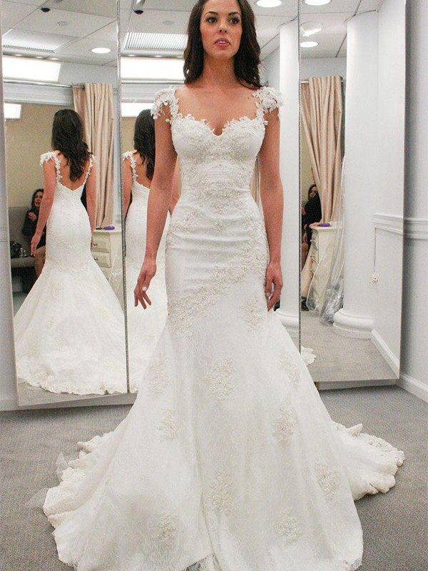 Mermaid Short Sleeves Sweetheart Chapel Train Ivory Wedding Dresses