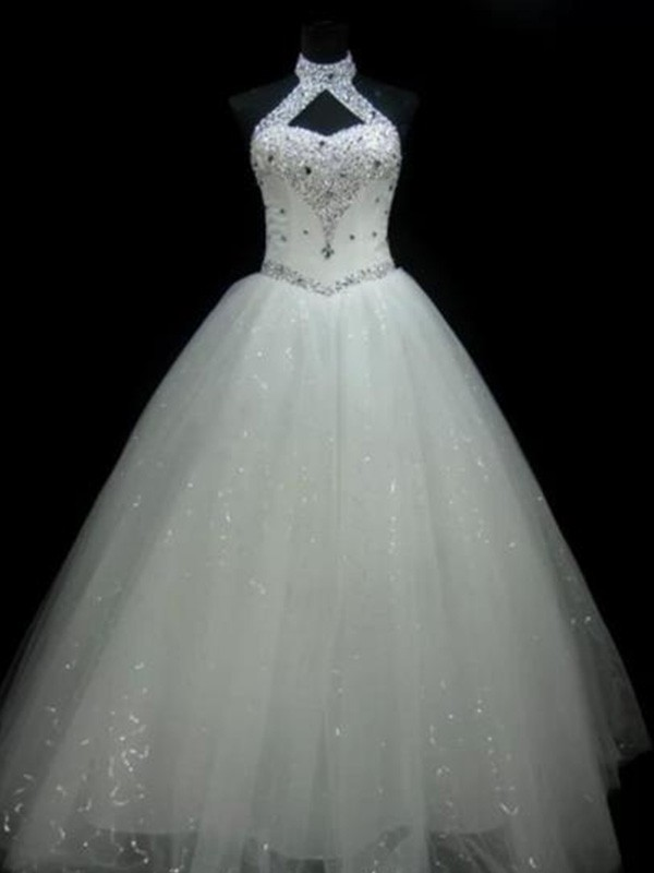 Ball Gown Halter Floor-Length Ivory Wedding Dresses