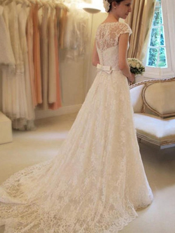 A Line Short Sleeves Square Court Train Ivory Wedding Dresses