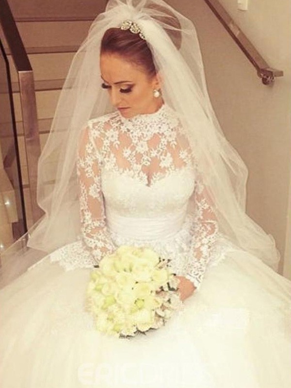 Long Sleeves High Neck Brush Train Ivory Wedding Dresses