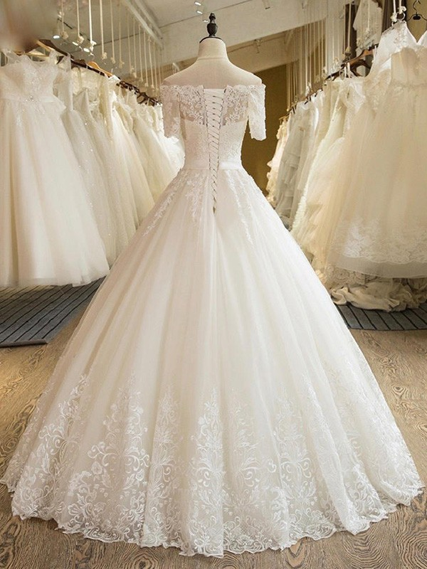Ball Gown 1/2 Sleeves Off-the-Shoulder Floor-Length Applique Lace Tulle Wedding Dresses