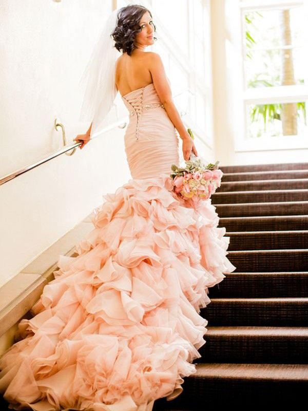 Trumpet/Mermaid Sleeveless Sweetheart Court Train Ruffles Organza Wedding Dresses