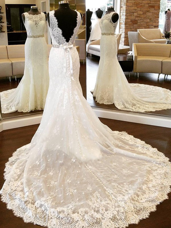 Sheath Lace Scoop Chapel Train Ivory Wedding Dresses