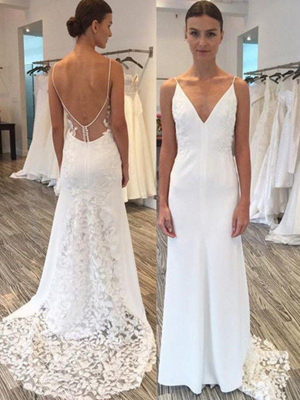 Sheath Spaghetti Straps Brush Train White Wedding Dresses