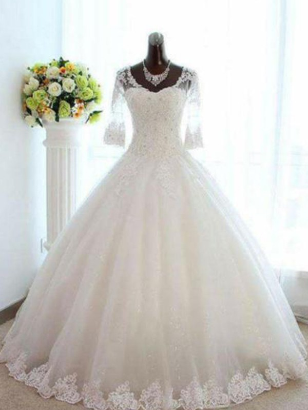 Tulle 3/4 Sleeves Bateau Floor-Length Ivory Wedding Dresses
