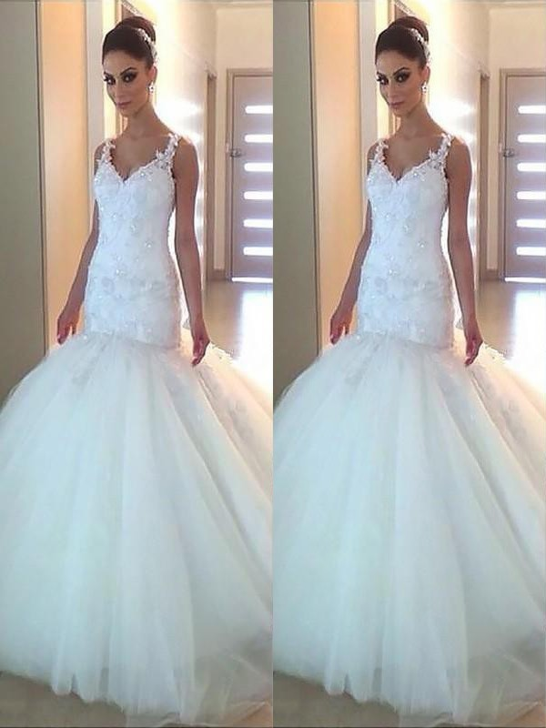 Mermaid Tulle V-neck Court Train Wedding Dresses with Applique