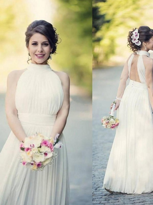 A-Line Halter Floor-Length White Wedding Dresses