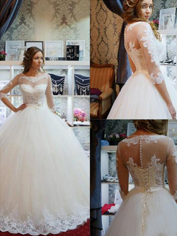 Ball Gown Scoop Floor-Length Ivory Wedding Dresses with Applique