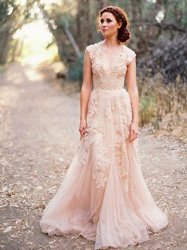 Tulle A-Line Brush Train V-neck Pink Wedding Dresses