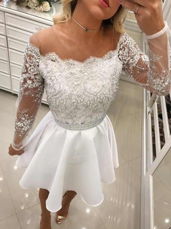 Short Off-the-Shoulder A-Line Long Sleeves Chiffon White Homecoming Dresses