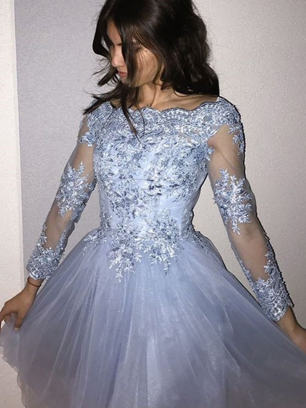 Short Off-the-Shoulder A-Line Long Sleeves Tulle Light Sky Blue Homecoming Dresses
