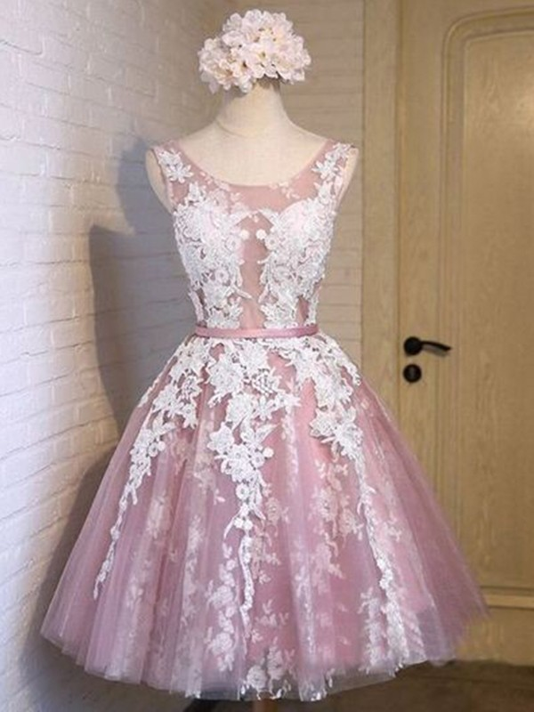 Short Scoop A-Line Tulle Pink Homecoming Dresses