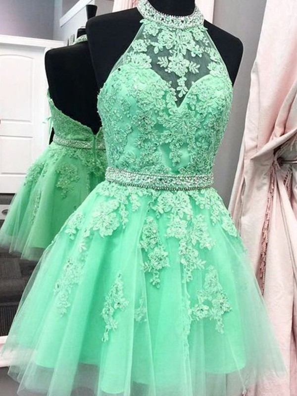 Short Halter A-Line Tulle Sage Homecoming Dresses