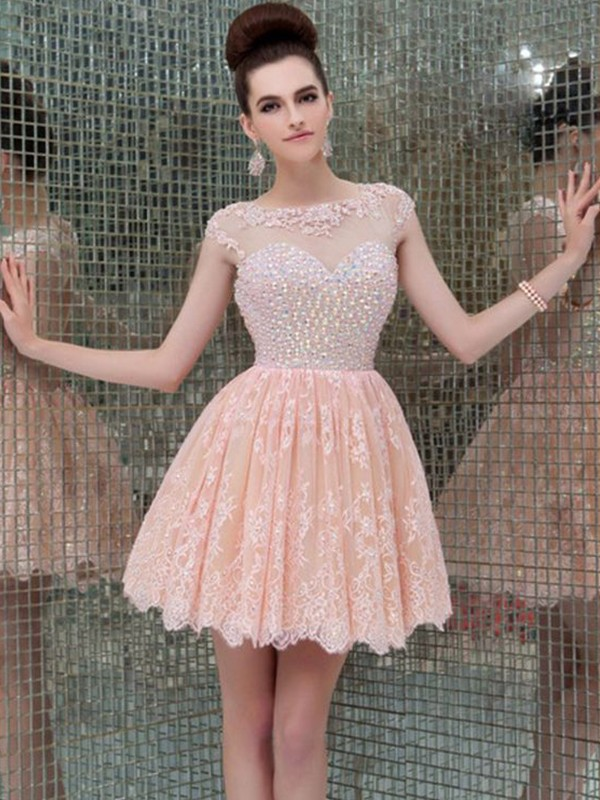 Short Scoop A-Line Lace Pearl Pink Homecoming Dresses