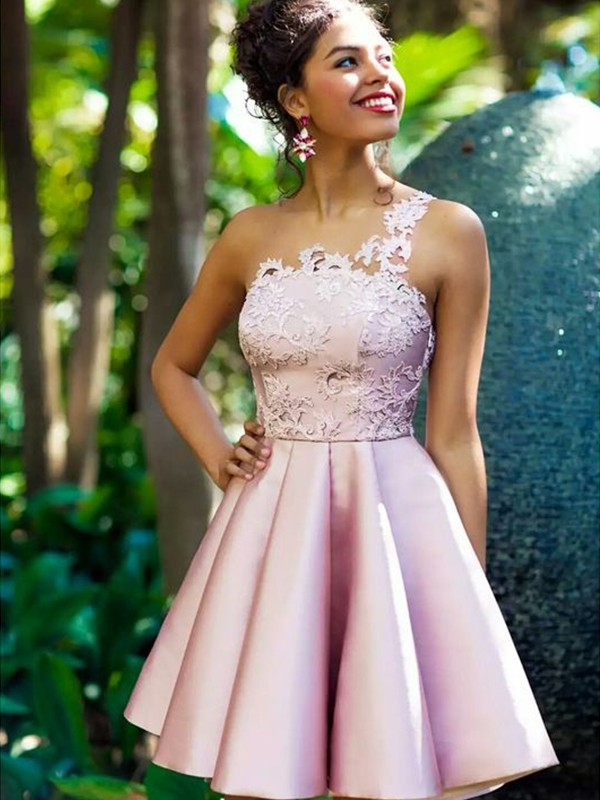 Short One-Shoulder A-Line Satin Pearl Pink Homecoming Dresses