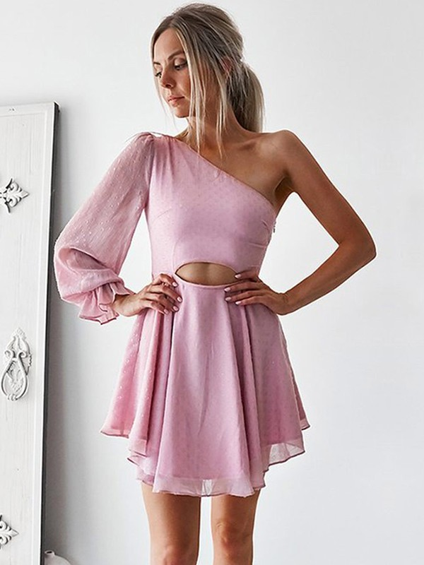Short One-Shoulder A-Line Long Sleeves Chiffon Pink Homecoming Dresses