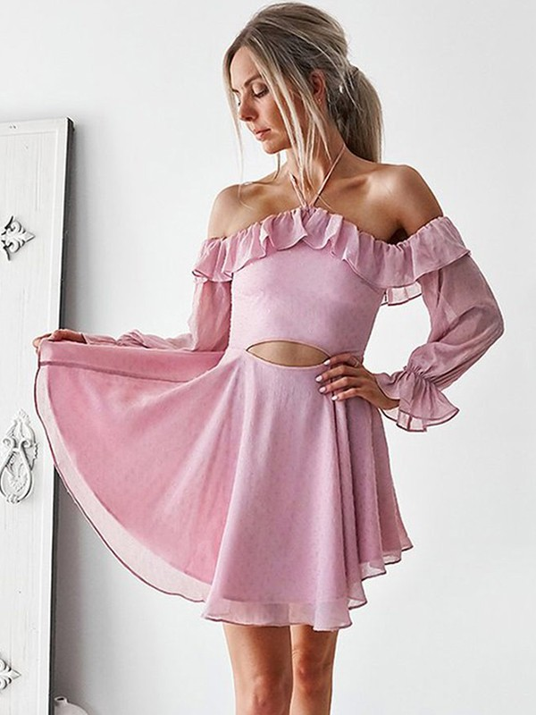 Short Off-the-Shoulder A-Line Long Sleeves Chiffon Pink Homecoming Dresses