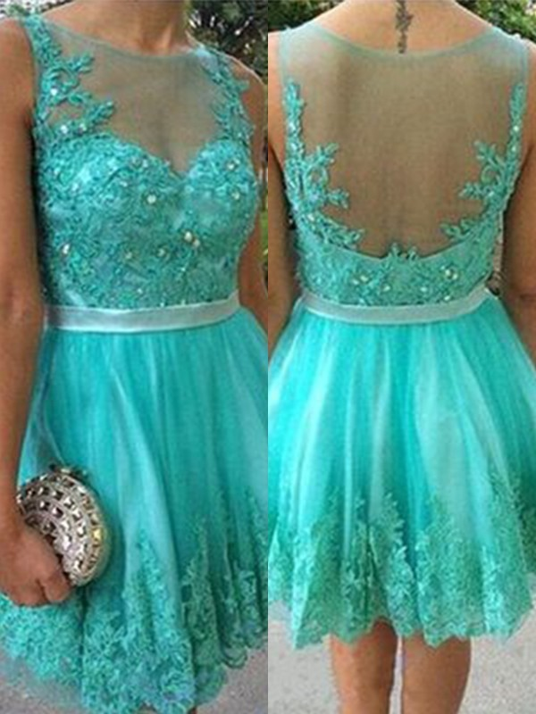 Short Scoop A-Line Tulle Green Homecoming Dresses