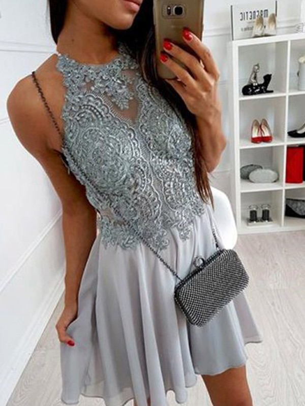 Short Halter A-Line Chiffon Grey Homecoming Dresses