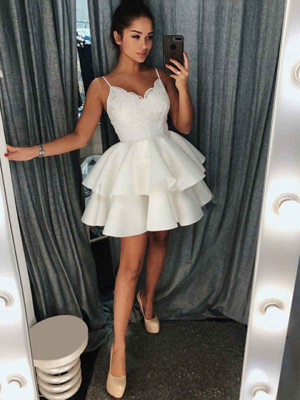White Spaghetti Straps Short Satin Homecoming Dresses