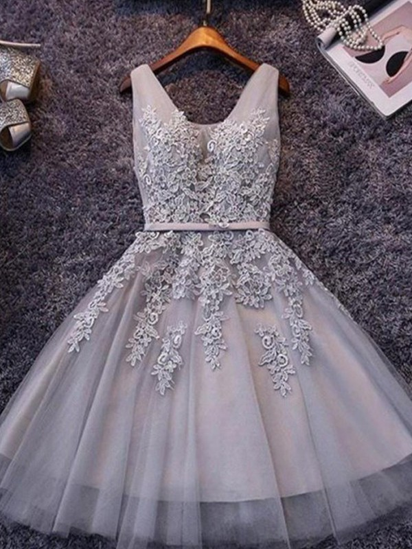 Lilac Short Straps Tulle Homecoming Dresses