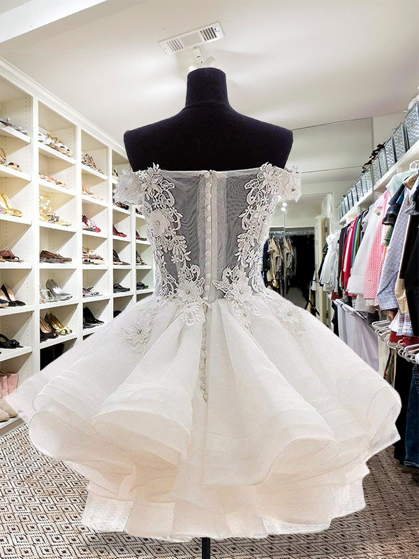 Ball Gown Off-the-Shoulder Short White Homecoming Dresses