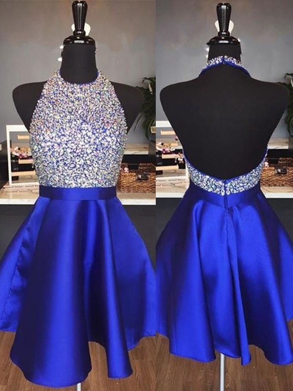A-Line Halter Cut Royal Blue Homecoming Dresses