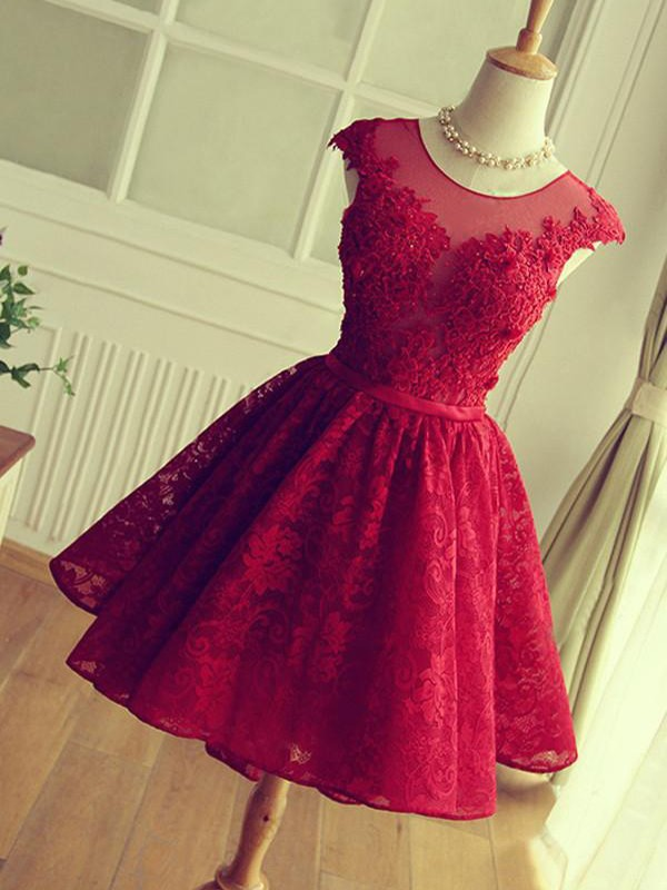 A-Line Short Lace Red Homecoming Dresses