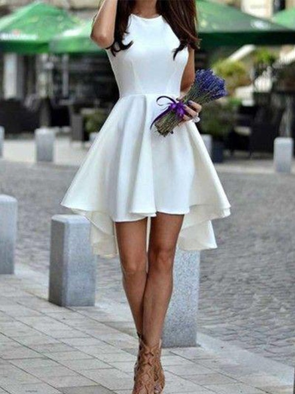 A-Line Short Satin White Homecoming Dresses