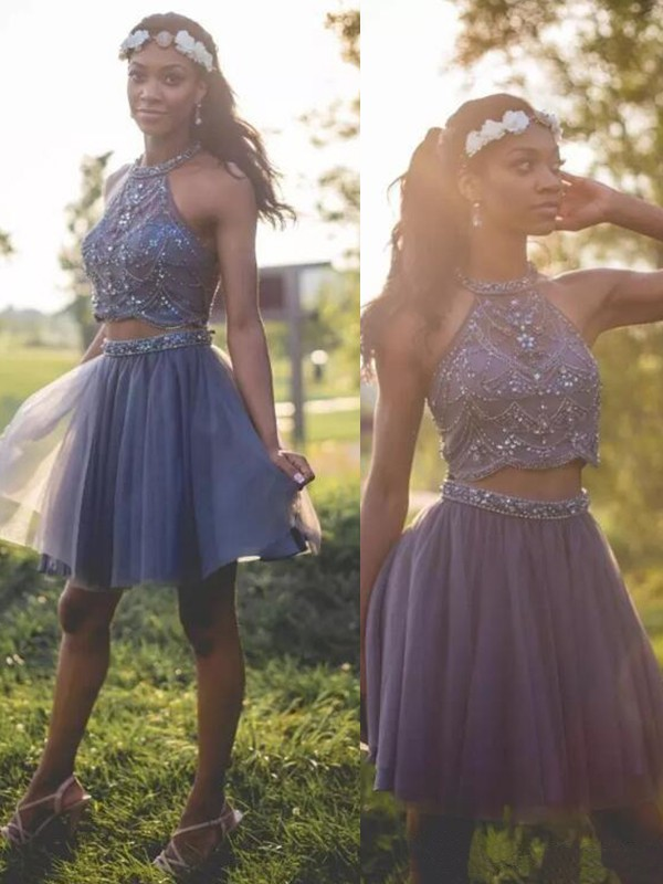 Halter Short Tulle Silver Homecoming Dresses