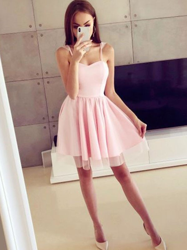 A-Line Satin Spaghetti Straps Pink Homecoming Dresses