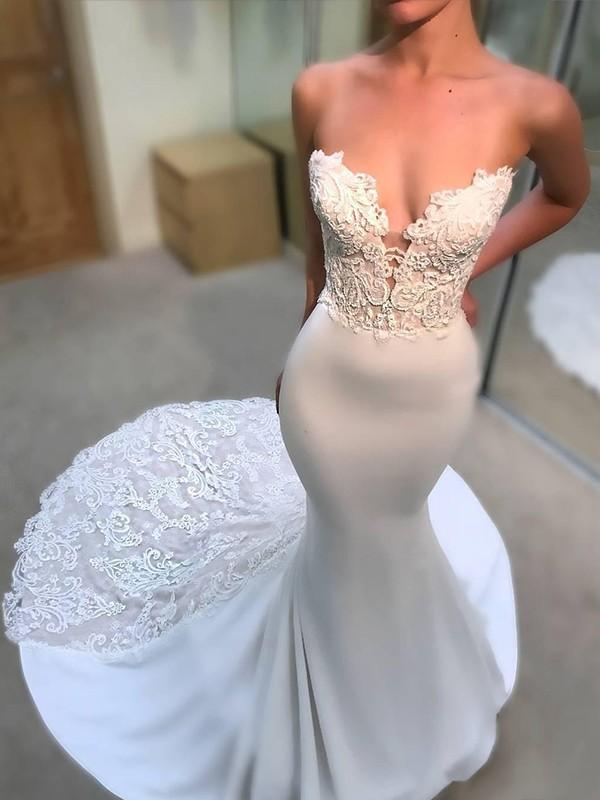 Mermaid White V-neck Court Train Satin Wedding Dresses