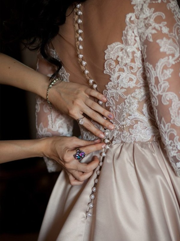 Ball Gown Champagne Lace Court Train Satin Wedding Dresses