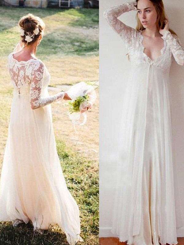 V-neck Lace Ivory Floor-Length Chiffon Wedding Dresses