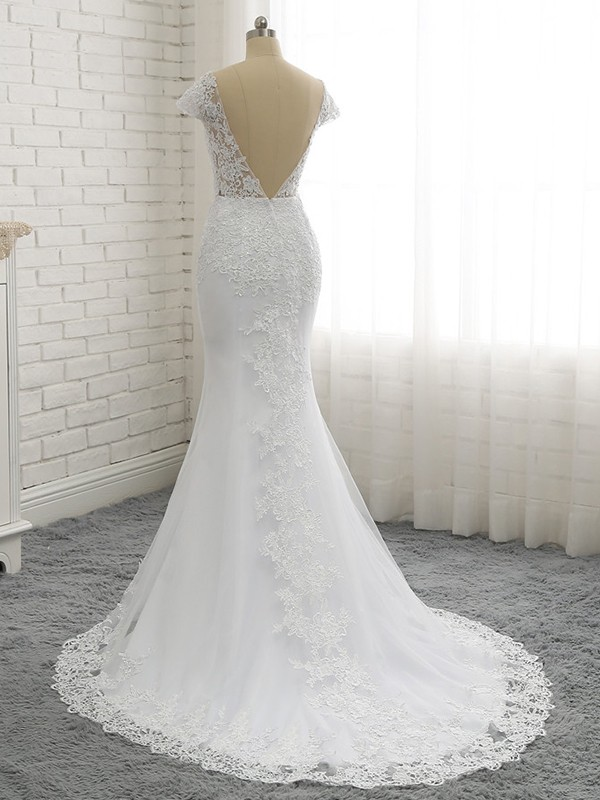 Sweetheart Mermaid White Court Train Lace Wedding Dresses