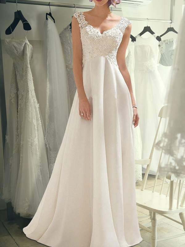 Empire Ivory Floor-Length Lace Chiffon Wedding Dresses