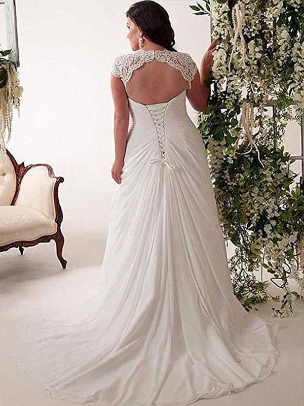 Sweetheart White Lace Chiffon Plus Size Wedding Dresses