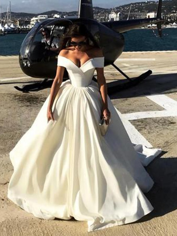 6c4ebd21ff Off-the-Shoulder Court Train White Satin Wedding Dresses ...
