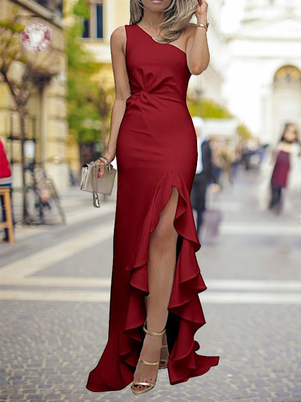 Sheath One-Shoulder Brush Train Burgundy Silk like Satin Prom Dresses