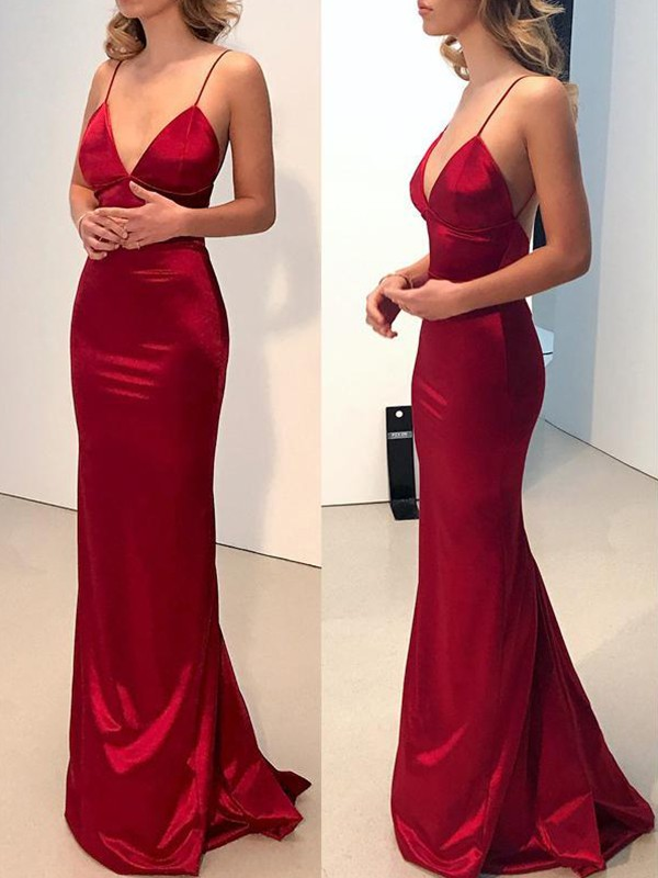 Sheath V-neck Red Brush Train Silk like Satin Prom Dresses
